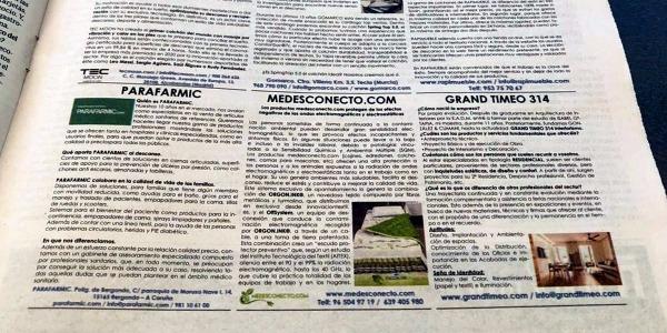 Las páginas de empresa del periódico ABC publican un artículo sobre los productos medesconecto.com